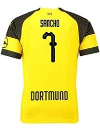 2018-2019 Borussia Dortmund Puma Home Football Soccer T-Shirt Camiseta (Jadon Sancho
