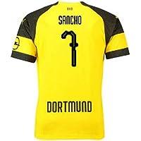 e4ec4c83b27 2018-2019 Borussia Dortmund Puma Home Football Soccer T-Shirt (Jadon Sancho  7