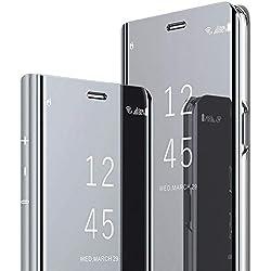 Teryei Coque Huawei Mate 9 / Mate 9 Pro Hard PC Housse Miroir/Clapet Coque Armure Dur Rigide Housse Très Mince Anti-Rayures Case Anti-choc dur Cover Bumper (Argent, Mate 9)