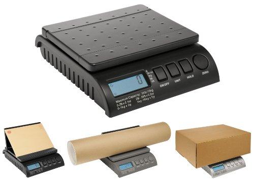 Postship schwarze digitale 20 kg/44 lb Waage, 1 g Erhöhung, Briefpost/Porto/Paket/Versand/Wiegen/Päckchen - 0-1 kg/1 g, 1-5 kg/2 g, 5-20 kg/5 g.
