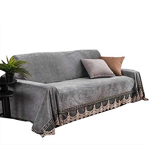 Tsscy copridivani peluche, copridivano pizzo copridivani coprisedili sofa protector sofa throws -grigio 200x300cm/79x118inch