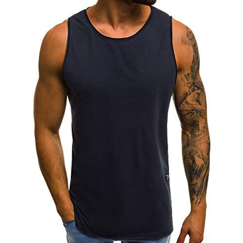 Top Zz Jacke Kostüm - ESAILQ Mode Persönlichkeit Herren Sommer Beiläufiges Dünnes ärmelloses T-Shirt Top Bluse(Large,Marine)