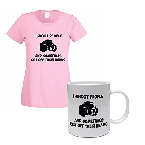 I SHOOT PEOPLE AND SOMETIMES CUT OFF THEIR HEADS - Camera / Photography / Novelty Themed Women's T-Shirt and Ceramic Mug Set