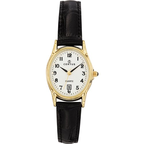Certus 646544 Women's Watch, Analogue Quartz, White Dial, Black Leather Strap
