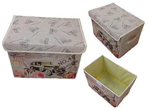 GMMH Aufbewahrungsbox mit Deckel Lein Paris Rom England London Kiste Organizer (Paris Auto)