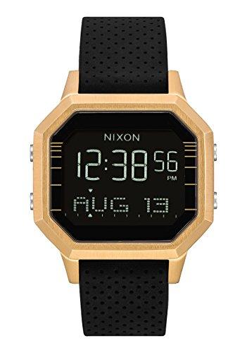Nixon Siren SS A12112970 - Digitaluhr für Frauen mit goldfarbenem Gehäuse und schwarzem Silikonarmband. (Nixon-digitaluhr-schwarz)