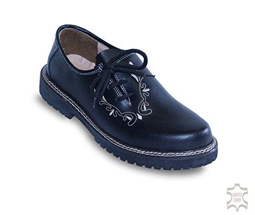 Waller Trachtenmoden , Chaussures de ville à lacets pour homme Schwarz (Glattleder mit Stickerei)