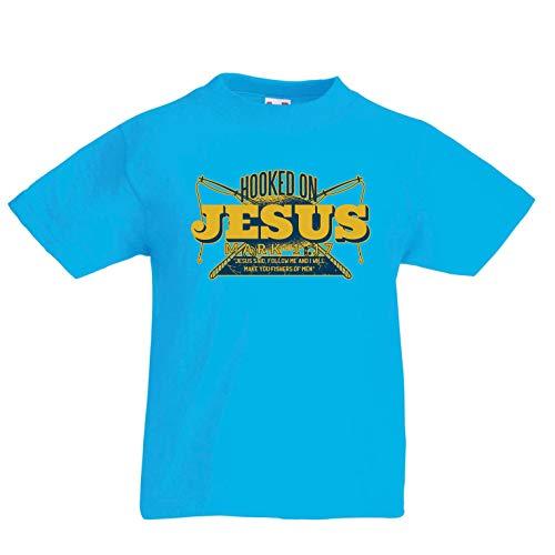 en/Mädchen T-Shirt süchtig, Jesus Markus 1:17, christliche Sprichwörter fischen (14-15 Years Hellblau Mehrfarben) ()