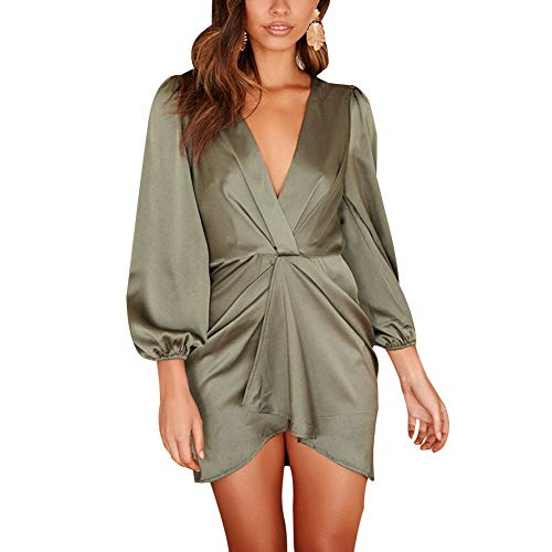 Aelle Womens Dresses V Neck Long Puff Sleeve Bodycon Mini Wrap Dress Ruched Slit Party Skirt (XL, Grün) -