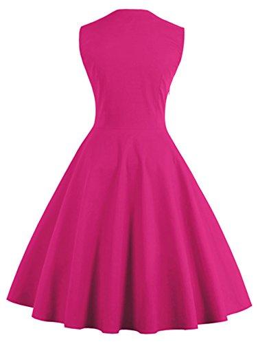 Chez BoBos Robe Femme à Pois Vintage Plissée Année 50 Audrey Hepburn Rockabilly Swing Robe de Soirée Courte Rose