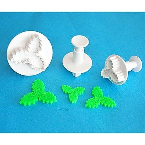 quattro c plastica tre foglia cutter torta agrifoglio fondente decorazione stantuffo, strumenti fondente di alta qualità