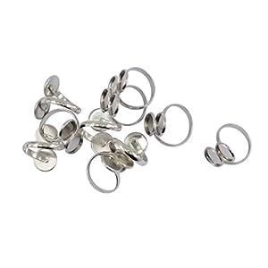 Baoblaze 10 x Ringrohlinge für 12mm Cabochons Ringe Rohlinge Handwerk Schmuck