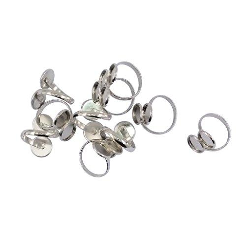Non-brand 10 Stücke Ring Pad Bases 12mm Cabochons DIY Ring Machen Schmuck Machen Handwerk (Ringe Für Schmuck Machen)
