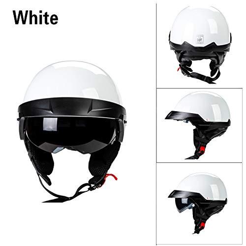 MMGIRLS Vintage Harley Helm mit eingebautem Objektiv DOT für Männer und Frauen Cruiser Scooter Fahrradhelm abnehmbares Futter (weiß),M 1-kanal-visier
