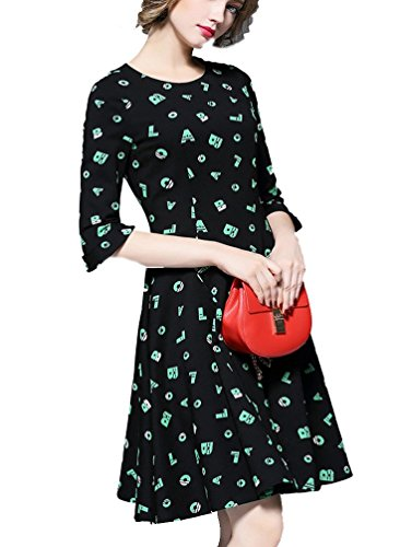 Ghope femmes élégantes à 3/4 manches courtes One-Piece Dress Sexy Balançoire Casual impression Slim Noir