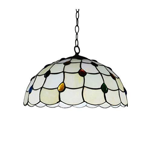 16 Zoll Restaurant Glas Kronleuchter, Handwerk Glasmalerei Deckenleuchte Pendelleuchte, kühlen und warme Töne Schalter frei E27 (Glühbirnen nicht im Lieferumfang enthalten)