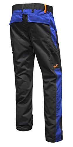 Pantaloni da Lavoro Berlin PRO, Tasca per Ginocchiere, Cerniera Lampo YKK + Bottone YKK - Made in EU - KERMEN - Nero-Blu 106