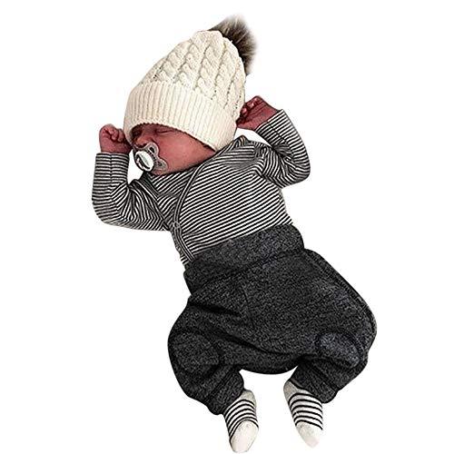Trajes Mono Moda Bebé, LANSKIRT Recién Nacido Bebé Niño Niña Botón de Rayas Romper Mono Camiseta Pantalones Conjunto de Ropa