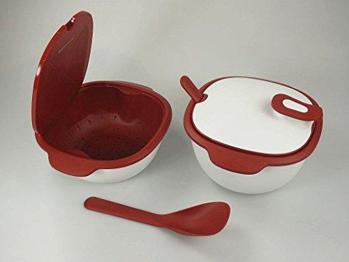 TUPPERWARE Warmie-Tup 3,25L rot weiß + Siebservierer 2,25L + Servierlöffel (2) Thermo-Duo