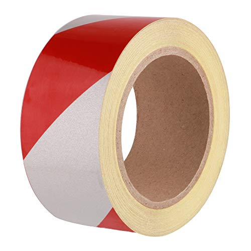 Toohui nastro segnaletico rosso/bianco, 23m x 50mm, adesivo riflettente nastro di sicurezza di marcatura, nastri antinfortunistici, nastro di avvertimento di pericolo