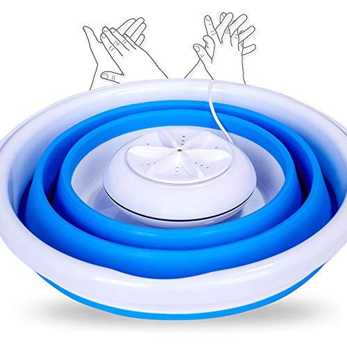 WWJQ Tragbare Waschmaschine 10 L KapazitäT, Ultraschall-Turbine Waschautomat Falten, USB 5v 2a, Reise WäScherei FüR GeschäFtsreise-Kleidung Obst Schmuck Brille GemüSe