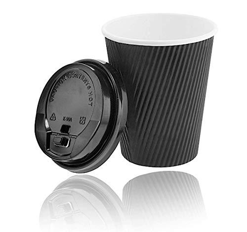 Premium Ripple Cups 0,4 l, schwarz + stabile Deckel mit Trinköffnung, Riffelbecher, Coffeecups, Einwegbecher, Pappbecher, to-Go Becher, Kartonbecher, Hartpapier, Take Away Geschirr, Schwarz (50) (Recyclebare Trinkbecher)