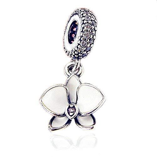Funshopp estate bianco orchidea appeso fiore pendente argento 925diy adatto per originale pandora bracciali charm fashion jewelry