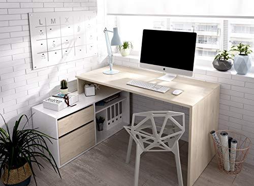 Hogar24 Escritorio Modelo ROX, Mesa Despacho Reversible, Color Madera Natural y Blanco Brillo, 139 X 92 X 75