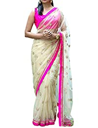 Swara Fashion Women's Nylon Net Thread Work Saree(SFA-3237_White)