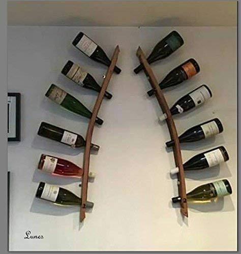 *Lunes – Wine Barrel Art Wand Weinregal, Holz Eiche. Individuell handgefertigt, mit 100% recycelten Eichen Weinfässer aus der Corbières Südfrankreich. Doppel-Weinregal – ORIGINAL EICHENFASSDAUBE*
