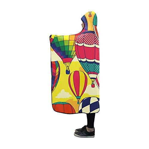 JOCHUAN Hooded Blanket Bunte Retro Pop Heißluftballons Decke 60 x 50 Zoll Comfotable Hooded Throw Wrap -