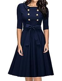 MIUSOL Damen Retro Party Kleid Rockabilly 70er Abendkleid Einreihig Cocktailkleid