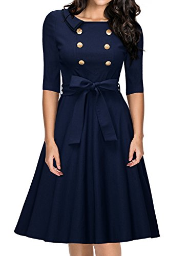 Miusol Damen Rundhals 3/4 Aermel Retro Einreihig Cocktailkleid Rockabilly 70er Jahr Party...