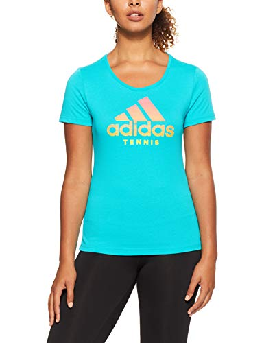adidas Damen Category Kurzarm-Shirt, Hi-Res Aqua, S - Aqua-herz Shirt