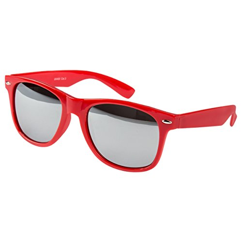 Ciffre Sonnenbrille Nerdbrille Nerd Retro Look Brille Pilotenbrille Vintage Look - ca. 80 verschiedene Modelle Rot Silber Verspiegelt