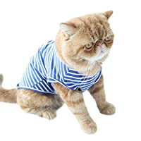 Singular-Point Pet Coat for Puppy Small Medium Large Dog, Pet Clothes Striped Fashion Cat Bottoming Shirt Cotton Two-Legged Cat Pajamas