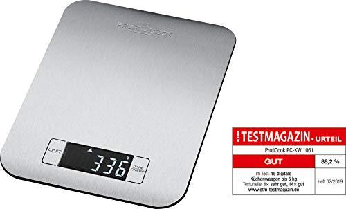 ProfiCook PC-KW 1061 digitale Küchenwaage mit großem LCD-Display, Wiegefläche aus Edelstahl, Tara-Funktion, Abschaltautomatik