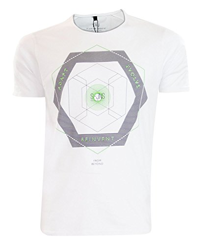 New Mens Smith und Jones Graffic Print Rundhals Designer Casual T-Shirt Top White
