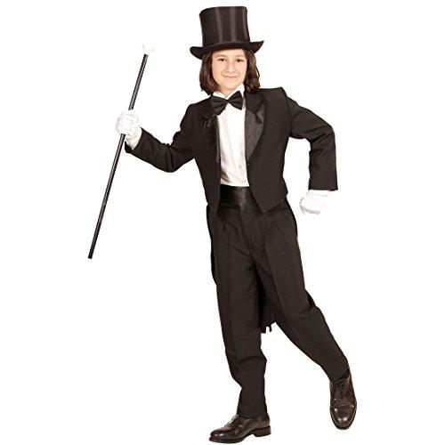 Amakando Kinderfrack schwarz - 128, 5 - 7 Jahre - Anzug Jacke für Jungen Kinder Bräutigam Kostüm Gentleman Gehrock Hochzeit Zauberer Magier Kinderkostüm Eleganter Frack für ()