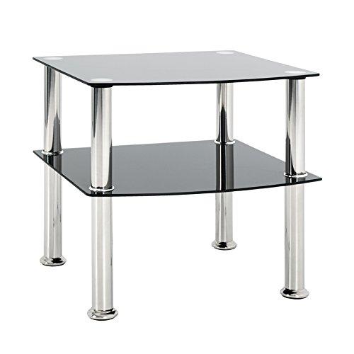 HAKU Möbel 15508 Beistelltisch, Edelstahl, Glas 5mm, Edelstahl-Schwarz, 45 x 45 x 44