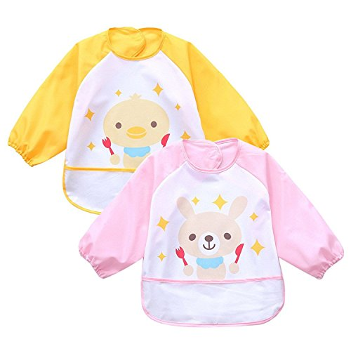 oral-q-2pcs-infantil-para-bebe-impermeable-play-delantal-pintura-hornear-cocinar-smock-edad-2-4-anos