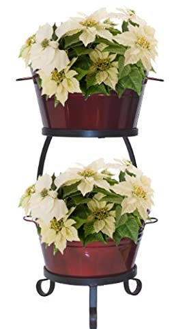 HIT 8021E GA Raised Planter with Iron Stand, 13.5 by 30-Inch, Glazed Apple