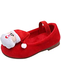 LiucheHD-Scarpe da Bambina Bambino Autunno e Inverno più Velluto Babbo  Natale Scarpe Calde Scarpe Singole Ragazze Mary Jane Scarpe Basse… 1762f54207f