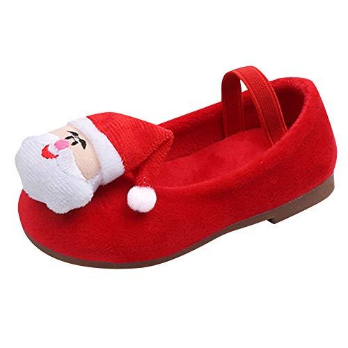 Beikoard Mädchen Prinzessin Schuhe Herbst und Winter Plus Samt Santa Claus Samt Santa Schuhe Warme Schuhe Turnschuhe
