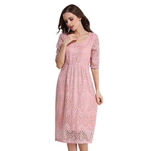 NiSeng Mujer Hueco Gasa Premamá Vestidos Ropa De Enfermería De Maternidad Elegante Lactancia Vestidos Rosa M