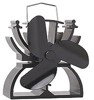 12.5cm Height Mini Heat Powered Stove Fan for Wood / Log Burner/Fireplace - Eco Friendly(Black)