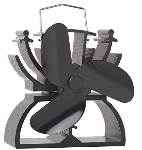 Thermoelektrischer Ventilator für Kamin, 12,5 cm hoch, umweltfreundlich, schwarz