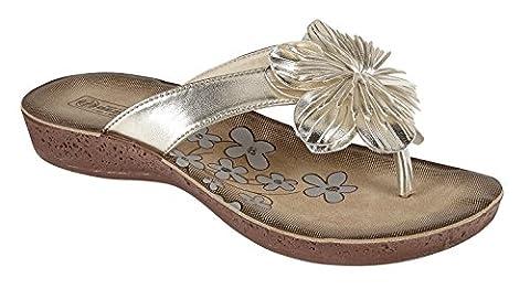 Womens Ladies Beach Summer Toe Post Flip Flop Flower Sandals (UK 5, Gold)
