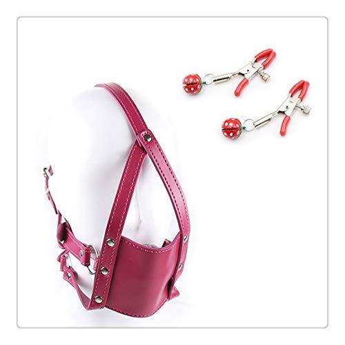 Z-one 1 Verstellbare Leder-Masken, Mundkugeln mit Clip, Happy for Men Woman(Rose Red)