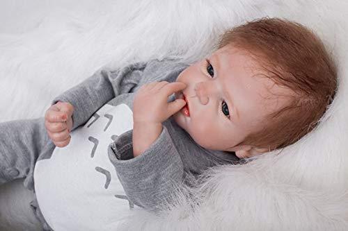 HOOMAI Lebensecht 22 Zoll 55 cm Reborn WiederGeboren Babypuppen Silikon Junge Magnetischer Mund Toddler Babies Kinder Echt Leben Geschenk Spielzeug